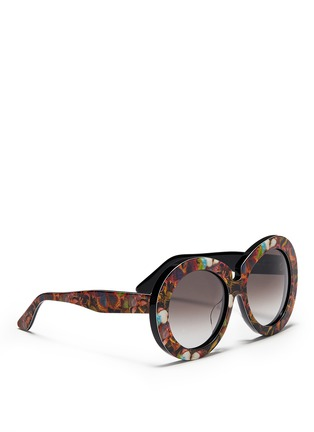 Figure View - Click To Enlarge - Valentino - 'Camubutterfly' oversize round acetate sunglasses