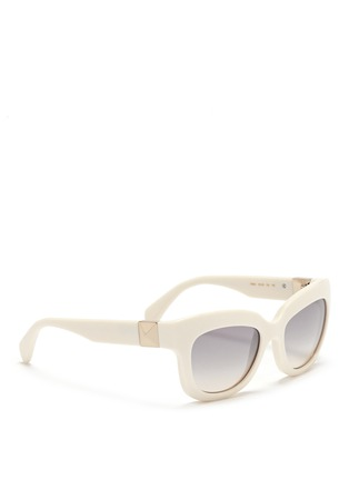 Figure View - Click To Enlarge - Valentino - 'Rockstud' chunky cat eye frame acetate sunglasses