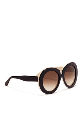 Figure View - Click To Enlarge - Valentino - Oversize round acetate sunglasses