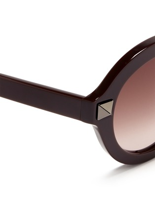 Detail View - Click To Enlarge - Valentino - 'Rockstud' oversize round frame acetate sunglasses