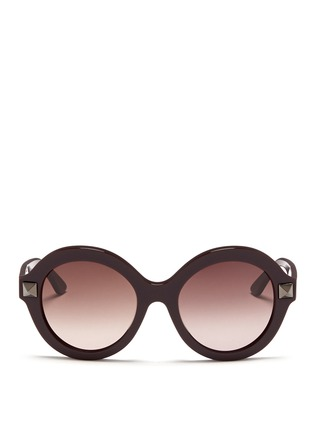 Main View - Click To Enlarge - Valentino - 'Rockstud' oversize round frame acetate sunglasses