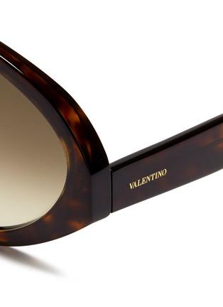 Detail View - Click To Enlarge - Valentino - 'Maskaviator' tortoiseshell acetate angular sunglasses
