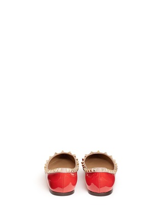 Back View - Click To Enlarge - Valentino - 'Rockstud' patent leather skimmer flats