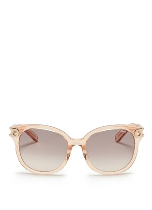 Main View - Click To Enlarge - Chloé - Cutout metal temple acetate sunglasses