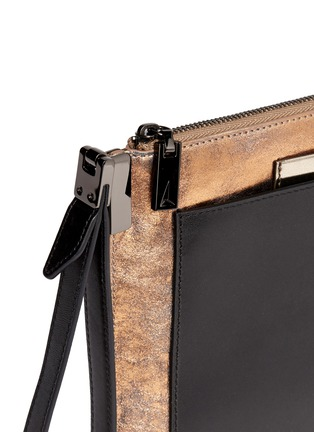 Detail View - Click To Enlarge - TIME'S ARROW - 'Ishi' metallic leather wristlet