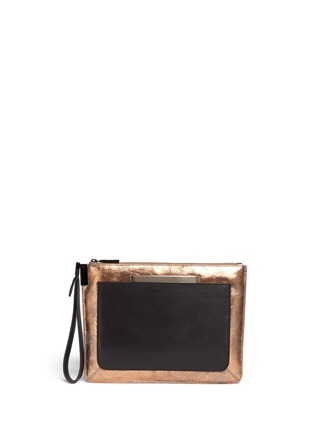 Main View - Click To Enlarge - TIME'S ARROW - 'Ishi' metallic leather wristlet