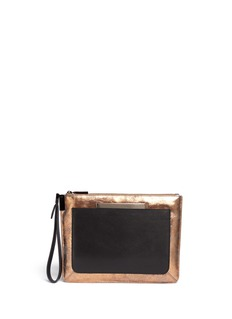 TIME'S ARROW'Ishi' metallic leather wristlet