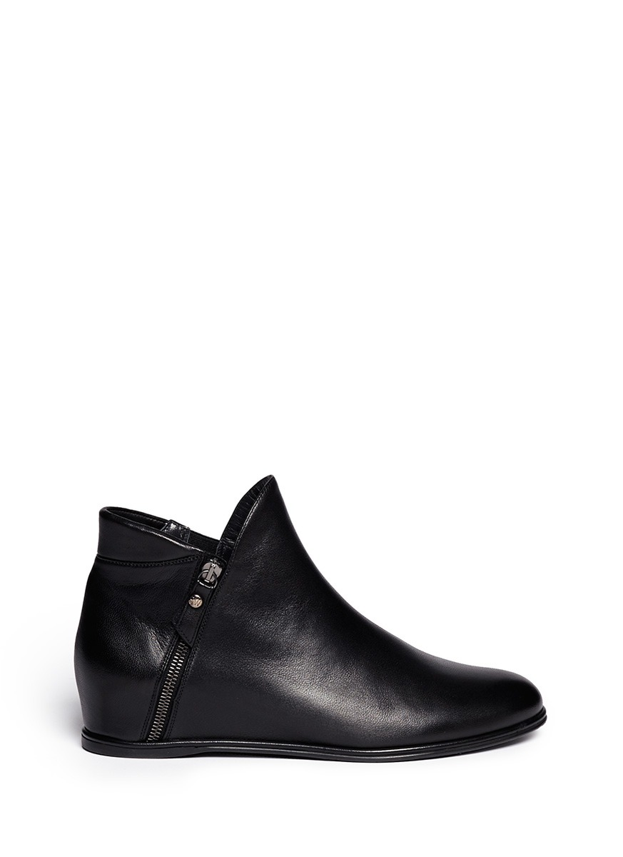 Lowkey leather concealed wedge ankle boots by Stuart Weitzman