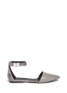 PROENZA SCHOULER Ankle strap geometic leather flats