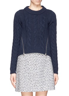 SEE BY CHLOÉVirgin wool cable knit zip front sweater