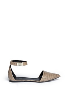 PROENZA SCHOULER Ankle strap croc embossed leather flats