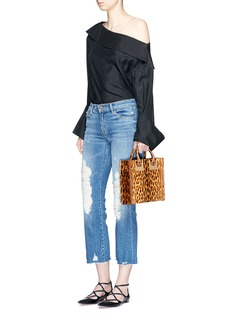 Sophie Hulme 'Albion Square' leopard print leather box tote