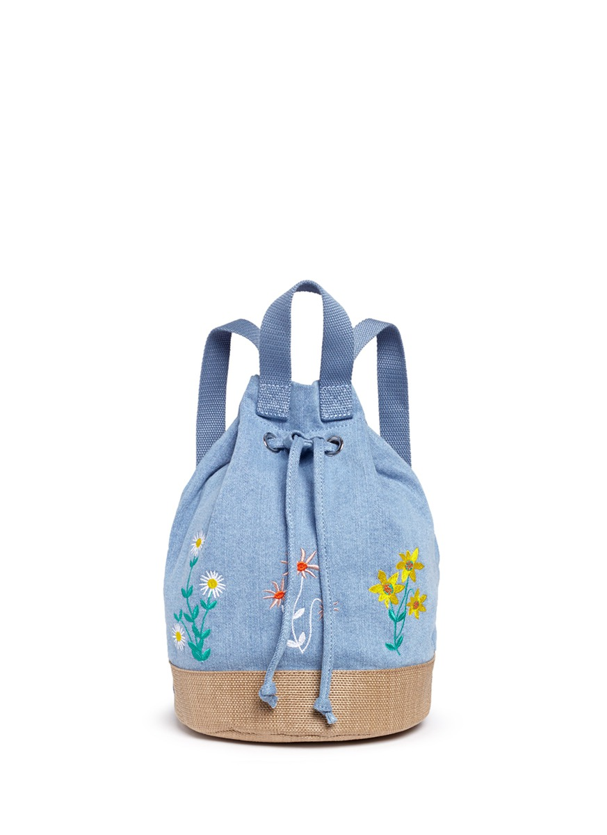 Gardenia floral embroidery denim kids bucket backpack by Stella Mccartney Kids