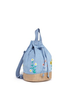 Stella Mccartney Kids 'Gardenia' floral embroidery denim kids bucket backpack