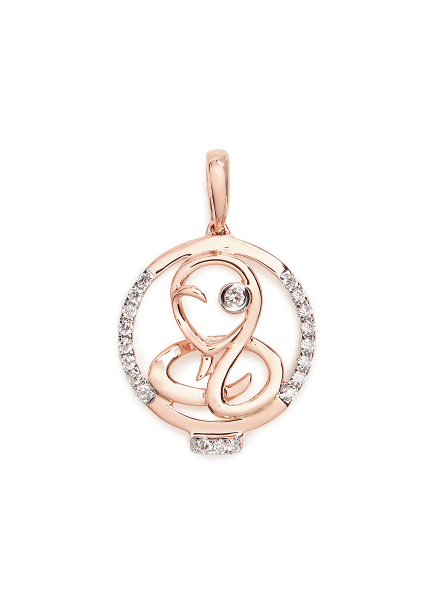 Diamond 18k rose gold Chinese zodiac pendant – Snake by LC COLLECTION JEWELLERY