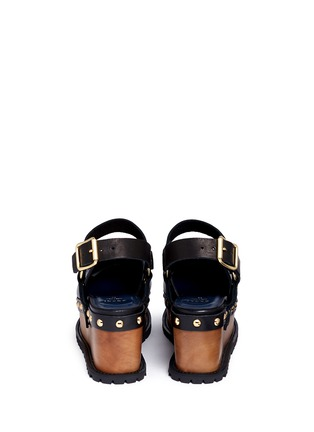 Back View - Click To Enlarge - Sacai - Wooden wedge stud leather clogs