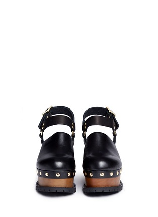 Front View - Click To Enlarge - Sacai - Wooden wedge stud leather clogs