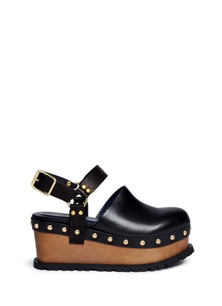 Main View - Click To Enlarge - Sacai - Wooden wedge stud leather clogs