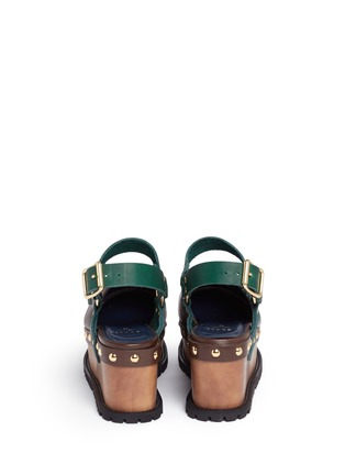 Back View - Click To Enlarge - Sacai - Wooden wedge stud colourblock leather clogs