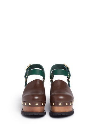 Front View - Click To Enlarge - Sacai - Wooden wedge stud colourblock leather clogs