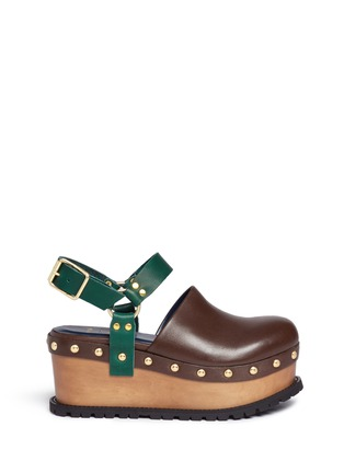 Main View - Click To Enlarge - Sacai - Wooden wedge stud colourblock leather clogs