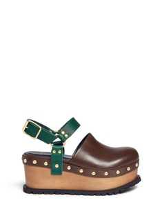 Sacai Wooden wedge stud colourblock leather clogs