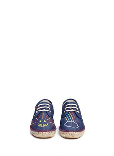 Stella Mccartney Kids 'Denim Rainbow Rae' embroidered kids lace-up espadrilles