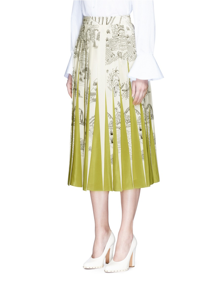VALENTINO 'The Garden Of Earthly Delights' Pleated Contrast Insert Skirt