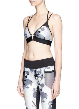 Front View - Click To Enlarge - Koral - Rewind' bloom print H2O sports bra