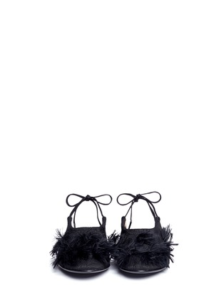 Front View - Click To Enlarge - Dries Van Noten - Frayed pompom jacquard flats