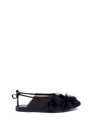 Main View - Click To Enlarge - Dries Van Noten - Frayed pompom jacquard flats