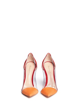Front View - Click To Enlarge - Gianvito Rossi - 'Plexi' clear PVC colourblock suede pumps
