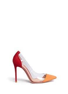 Gianvito Rossi 'Plexi' clear PVC colourblock suede pumps
