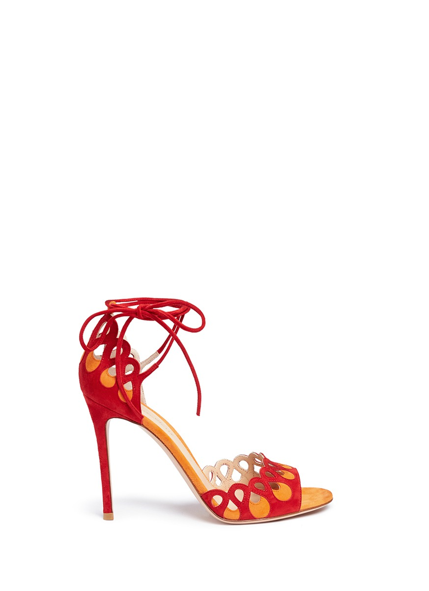 Samba cutout eyelet suede sandals by Gianvito Rossi