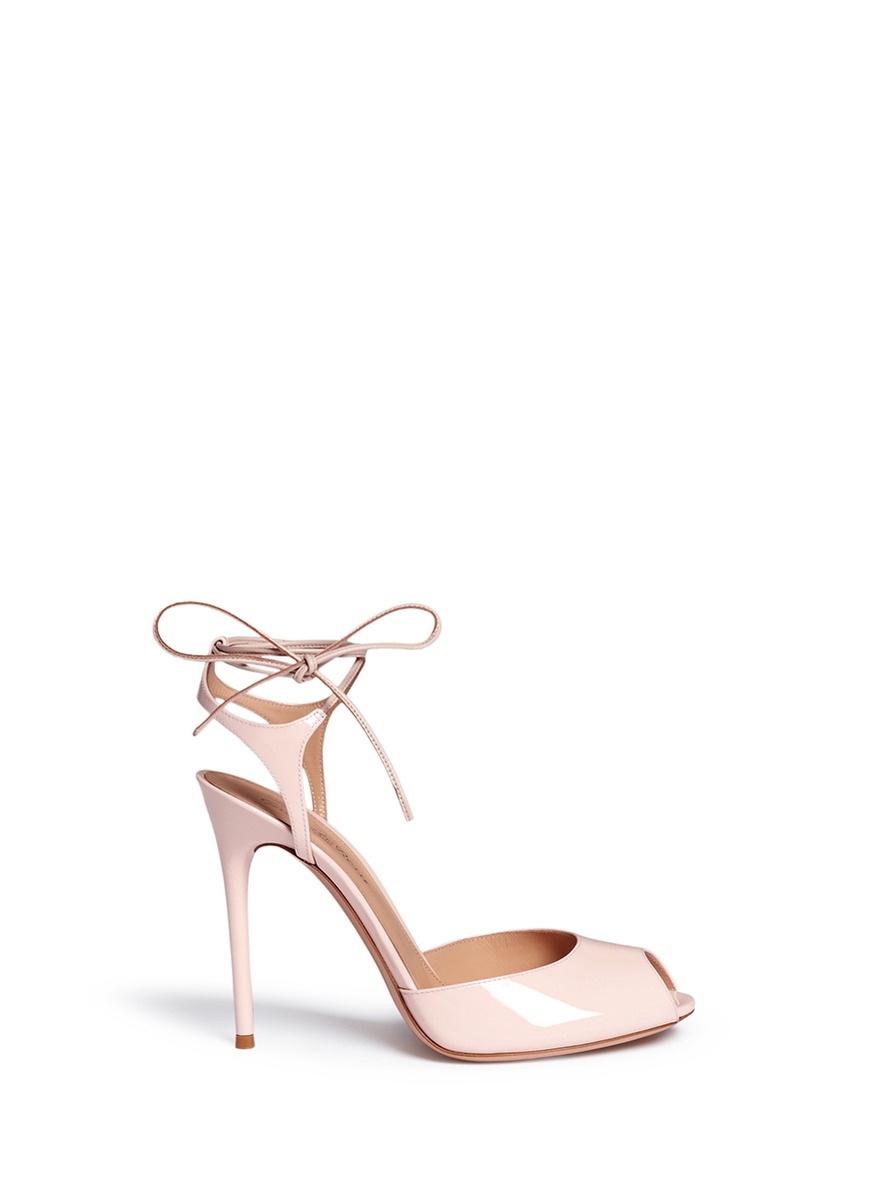 Ankle tie patent leather sandals by Gianvito Rossi