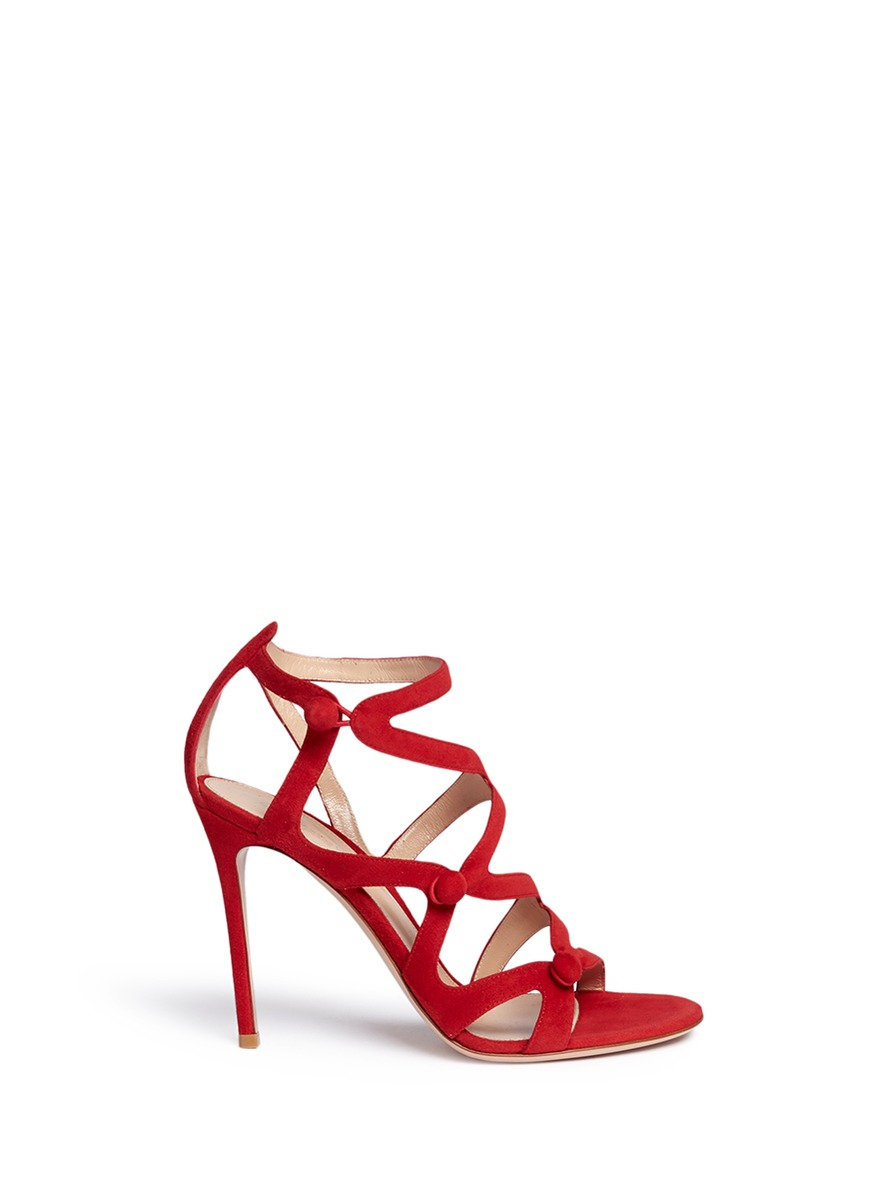 Rouleau loop button caged suede sandals by Gianvito Rossi