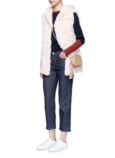 H Brand'Hunter' rabbit fur hooded long vest