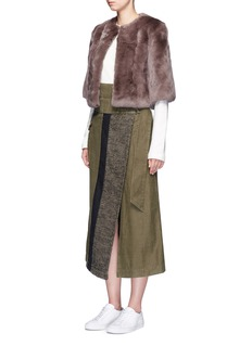 H Brand 'Mackenzie' rabbit fur cropped jacket