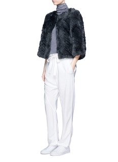 H Brand 'Jagger' chevron rabbit fur jacket