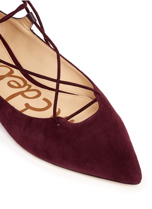 Detail View - Click To Enlarge - Sam Edelman - 'Rosie' lace-up suede skimmer flats