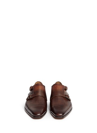 Front View - Click To Enlarge - Magnanni - Two-tone leather monk strap shoes