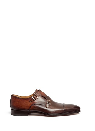 Main View - Click To Enlarge - Magnanni - Two-tone leather monk strap shoes