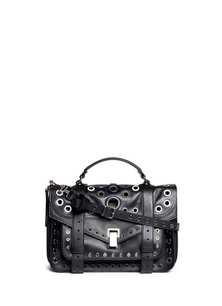 Main View - Click To Enlarge - Proenza Schouler - 'PS1' medium variegated grommet leather satchel