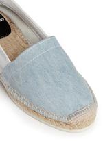 真皮拼牛仔布系带麻编鞋