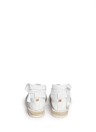 背面 - 点击放大 - PIERRE HARDY - 真皮拼牛仔布系带麻编鞋
