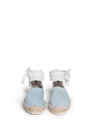 正面 -点击放大 - PIERRE HARDY - 真皮拼牛仔布系带麻编鞋