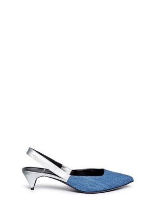 Main View - Click To Enlarge - Pierre Hardy - Denim vamp metallic leather slingback pumps