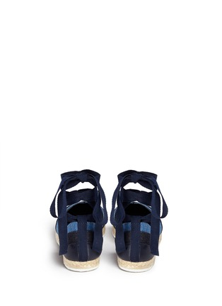 Back View - Click To Enlarge - Pierre Hardy - Ribbon tie panelled denim espadrilles