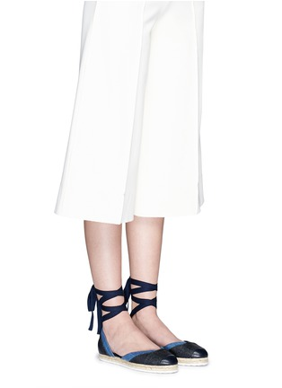Figure View - Click To Enlarge - Pierre Hardy - Ribbon tie panelled denim espadrilles