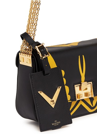Detail View - Click To Enlarge - Valentino - 'Super-H' Batman print leather crossbody chain bag